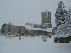 St Deny's Church in snow